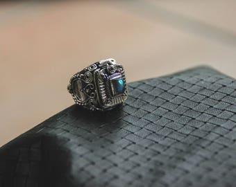 Silver Poison Ring - Blue Fire Labradorite Stone - Ethnic - Boho - Design - Box - Gems - Pixies - Fairy - Original