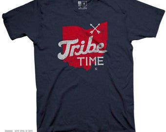 Navy Tribe Time Tee - Cleveland Tribe Time Indian Baseball Navy T-shirt
