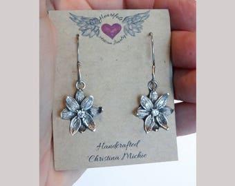 Dangle Flower Earrings, Silver Flower Earrings, Drop Earrings, Gardener Gift, Flower Earrings, Botanical Gift for her, CZ, Nature lover gift