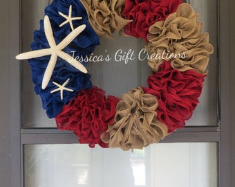 Made to Order Patriotic Burlap Wreath/Front Door/Beach/America/Red White and Blue/Starfish/4th of July Decor/USA/Everyday/Welcome Wreath