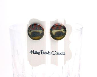 Large round stud earrings, ceramic earrings, bronze and metallic studs, large stud earrings