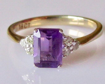 18ct Amethyst and Diamond Ring