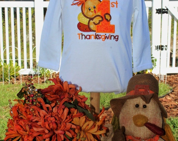 Baby's First Thanksgiving bodysuit, Baby girl Thanksgiving bodysuit,Baby boy 1st Thanksgiving bodysuit,Personalized Turkey shirt