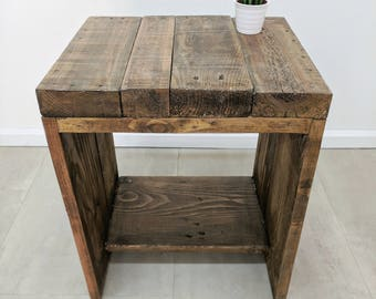 Characterful Bedside Table LAUAKE in Light Oak finish made of Rustic  Reclaimed Scaffold Boards, Nightstand