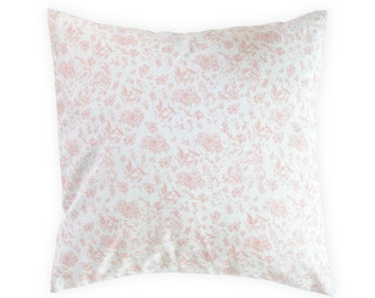 Pink Floral Pillow Cover - Shabby Chic Pillow Cover - Floral Nursery Pillow