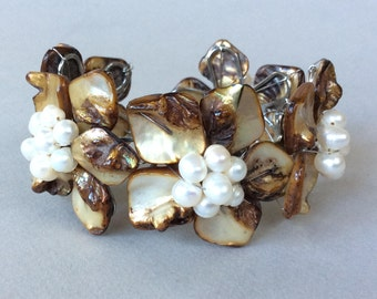 Beautiful Fresh Water Pearls and Shell Wire Bracelet