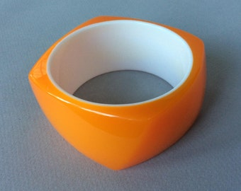 Orange White Lucite/Acrylic Chunky Bangle Bracelet