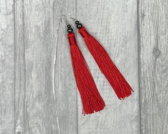 Tassel Earrings - Beaded Tassel Earrings - Tassel Jewelry - Red Tassel Earrings - Drop Earrings - Bohemian Earrings - Hematite Earrings