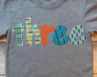 Boy 3 Birthday Shirt-Boy 3rd Birthday Shirt-READY TO SHIP-Toddler Boy Birthday Shirt with Cars-Size 3T short sleeve-Transportation Birthday