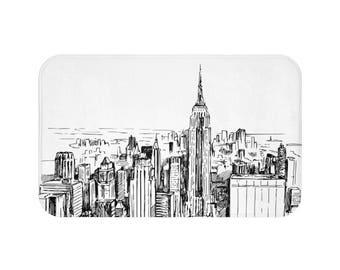 New York Bath Mat | New York Bathroom Mat | New York Shower Mat | New York Bath Rug | Skyline Bath Mat | Skyline Bathroom Mat