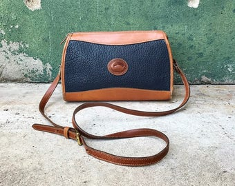 Vintage Navy & British Tan Pebbled Leather Dooney and Bourke Crossbody Purse
