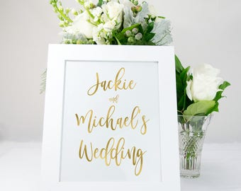 Wedding Welcome Sign in Gold Foil, Elegant, Unique, Chic, Bridal, available in gold, copper, rose gold, or silver