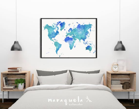 Turquoise and blue hues World map.