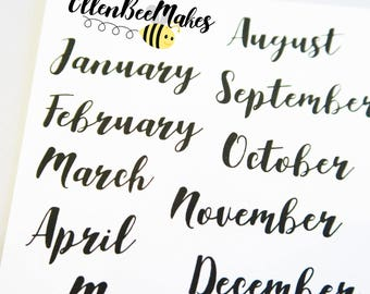 Month (Hand Lettering Effect) Stickers