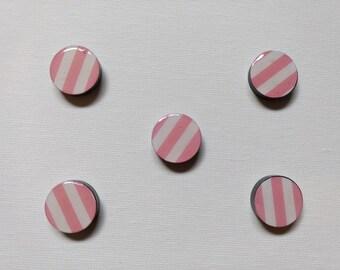 Pink/White Stripe Magnet Set