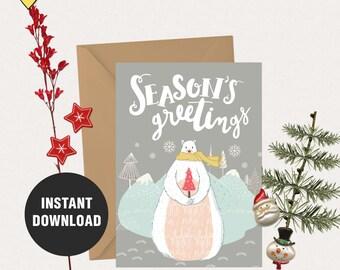 Printable christmas cards, 5X7 printable card, Printable christmas greeting card, Digital christmas card, printable xmas card