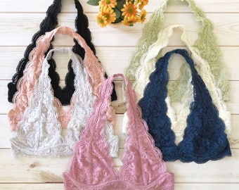 Scalloped Halter Lace Bralette - More colors, Lined, adjustable hook and eye closure, S M L, bralettes bras tops lacy halter neck