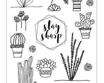 Bullet Journal Stickers, Cacti and Succulent Stickers, Printable Stickers, SVG, Silhouette, Cricut, Cut Files, Planner or Bujo Stickers