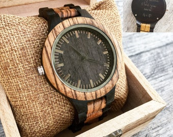 Watches for Men, Engraved Wood Watch, Men's Watch, Wooden Watch, Groomsman, Gift for Him, Personalized Gift, Boyfriend Gift, Anniversary