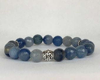 Women's natural blue aventurine bracelet with 925 sterling silver