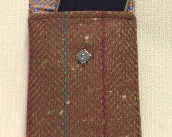 Welsh tweed phone case, cell case in brown with pink & turquoise stripe