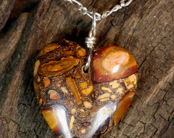 Valentine's Gift - Koroit Boulder Opal Heart Pendant on Sterling Silver Chain Necklace
