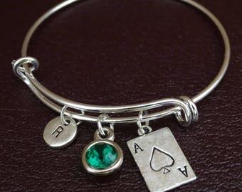 Ace Bracelet, Ace Bangle, Ace Charm, Ace Pendant, Ace Jewelry, Poker Night Bracelet, Poker Jewelry, Casino Bracelet, Casino Jewelry, Vegas