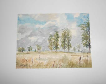 Vintage French Watercolor Landscape by Gaston Arcadias Signed, 1970's. country french