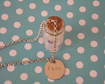 Love Bottle Charm Necklace