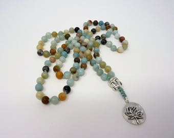 Amazonite Mala Necklace - Hand Knotted Buddha Gemstone Mala - Amazonite Prayer Necklace - Meditation - Healing Necklace - Prayer Necklace