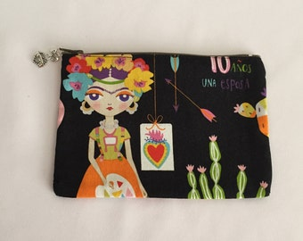 Frida, small zipper Pouch, wallet pouch, coin purse