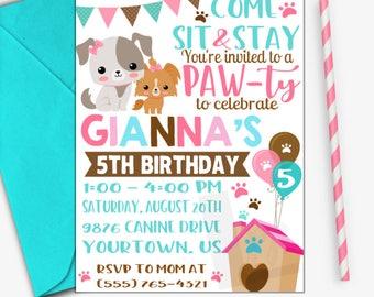 Puppy Birthday Invitation | Puppy Party Invitation | Puppy Invitation | Dog Invitation | Digital Invitation | Design 17052