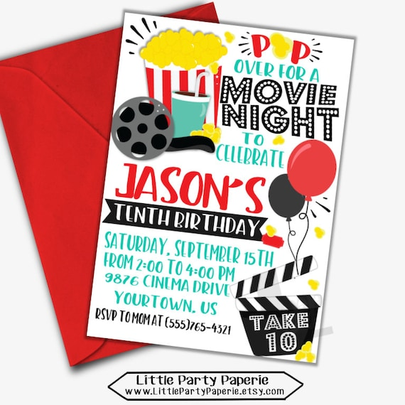 Movie night birthday invitation movie night invite movie invite il570xn filmwisefo
