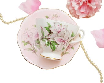 Vintage EB Foley Teacup Pink Lilies, Pink Floral Teacup, Shabby Chic, Made in England, High Tea Wedding Gift