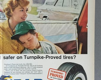 1961 Goodyear Tires Centerfold Print Ad - Baseball