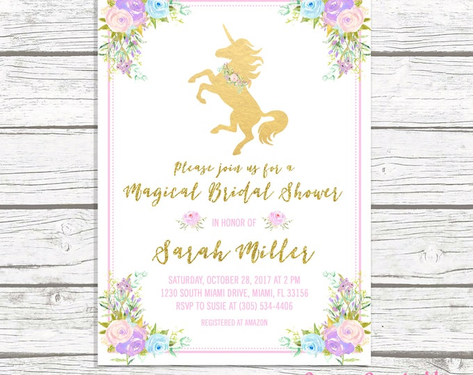 Unicorn Bridal Shower Invitation, Unicorn Invitation, Magical Bridal Shower Invitation, Floral Unicorn Invite, Pink and Gold Bridal Shower
