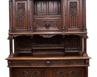 Large & Impressive Antique French Gothic Cabinet, Walnut, 19th Century #8603