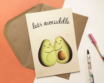 Let's Avocuddle - Valentines Card - Pun Card - Anniversary Card - Cute Anniversary Card - Card for Her - Avocado card - Greeting Card