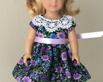 "6"" mini doll clothes: floral print dress with lace collar and satin ribbon sash"