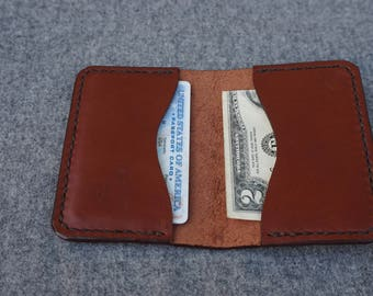 Mahogany Horween Leather Card Holder/Minimalist Wallet/Business Card Holder/Leather Wallet/Horween Wallet