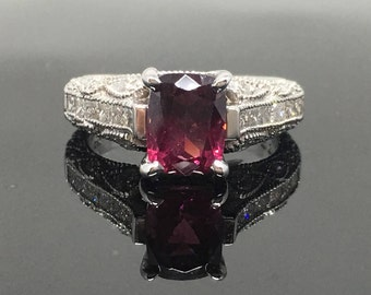 14K White Gold Art Deco Diamond and Tourmaline Engagement Ring - White Gold Milgrain Detail Pink Tourmaline Promise Ring - 14K Tourmaline