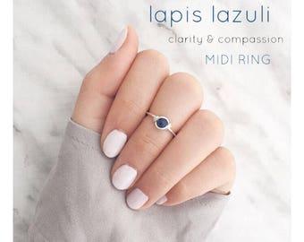 Mini lapis lazuli ring,dainty lapis lazuli ring,gemstone ring,lazuli jewelry,handmade,silver wire ring,midi lapis lazuli ring,layer ring