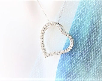 CZ Heart Sterling Silver Necklace