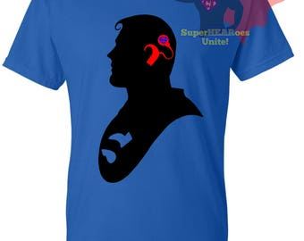 Blue and Red CI SuperHEARo shirt cochlear implant
