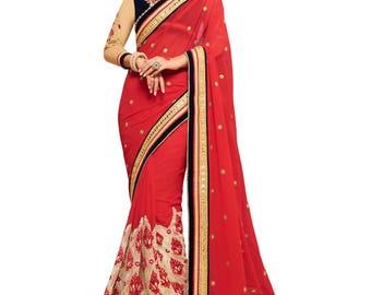 Indian designer party wear sari saree ethnic bollywood wedding Red Colored Chiffon Saree.