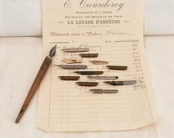 L'encre 12 plumes, Vintage, Wabi Sabi intérieurs, plumes de l'encrier, circa 1900/1920, Scribe plumes, InkPens, Arts décoratifs