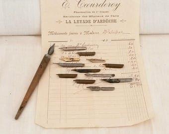 12 Ink Pen Nibs, Vintage, Wabi Sabi Interiors, InkPot Nibs, circa 1900/1920s, Scribe Nibs, InkPens, Decorative Arts