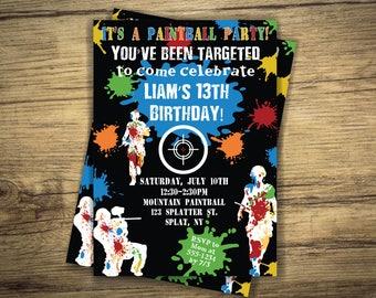 Paintball Birthday Party Invitation - Paintball Boy Invite Event, Digital File, Printable Invitation