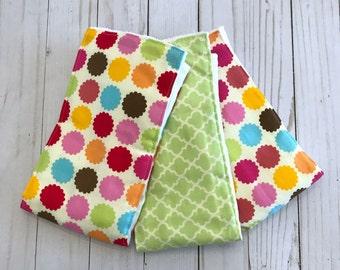Polka Dot ~ Burp Cloths ~ Set of 3