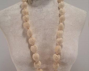 White Cream Hawaiian Kukui Nut Lei, Large White Nut Necklace Knotted Lace, Hawaiian Lei Made Large White Cream Nuts